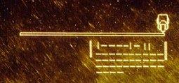 Representación del disco de oro, de las sondas Voyager, de lado. Crédito: NASA