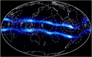 plasmagordels in de ionosfeer met verdikkingen