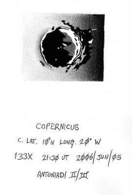 Tekening van Copernicus door Geoff Burt m�t extra lichtpuntje
