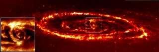 Infraroodopname van de ring van gas en stof in M31