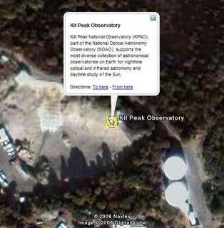 Kit Peak observatorium in Google Earth