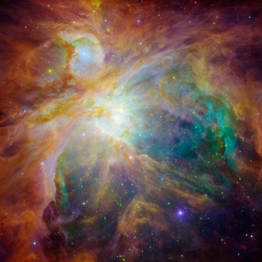 Orionnevel gefotografeerd door Hubble en Spitzer