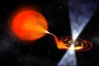Impressie van het dubbelstersysteem met een supersnel roterende neutronenster