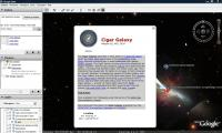 Infoscherm over M82 in Google Sky
