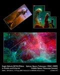 De adelaarsnevel gefotografeerd door Hubble (boven) en Spitzer (onder)