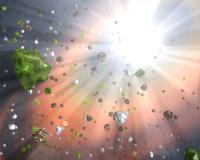 Animatie van zware stofdeeltjes in een quasar