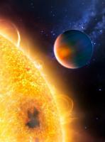 Impressie van de hete exoplaneet HD 189733b, waar ze methaan hebben ontdekt
