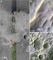 zoutafzettingen op het zuidelijk halfrond van Mars