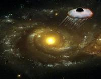 Voorstelling van het zwarte gat dat wegschiet uit SDSS J0927+2943