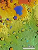 Uitkomst van een klimaatberekening voor Mars