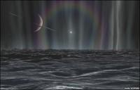 Impressie van geisers op Enceladus
