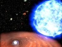 """Impressie van de witte dwerg RX J0648.0-4418 """"Dizzy' en de nabije ster HD 49798."""