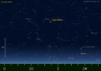 De radiant van de Lyriden op 22 april 2013 om 05.30 uur.
