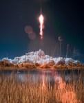 De lancering van de Antares raket en Cygnus capsule in infrarood