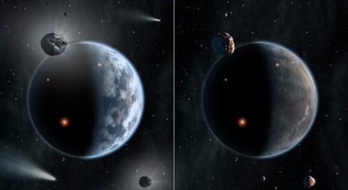 Voorstelling van een waterrijke planeet vol silicaten (links), zoals de aarde, en rechts van een kurkdroge planeet, vol met koolstof.