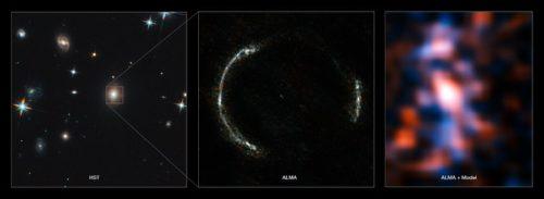 Montage van de Einsteinring van SDP.81 en het gelenste sterrenstelsel