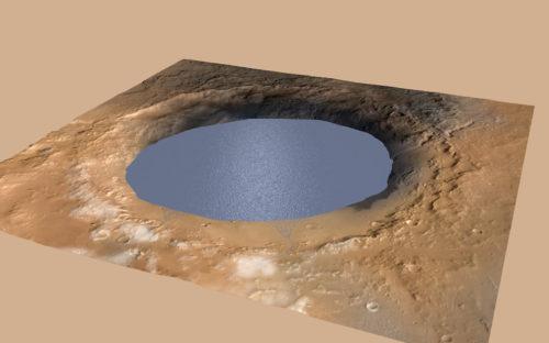 Voorstelling van de krater Gale, gevuld met water. Credit: NASA/JPL-Caltech/ESA/DLR/FU Berlin/MSSS