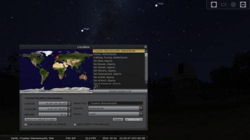 Locatie instellen kan door op F6 te drukken waarna je de GPS locatie kan invoeren.