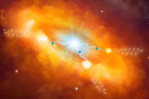 Een artistieke impressie van de krachtige kosmische peta-elektronvoltversneller die een internationaal team van wetenschappers heeft ontdekt in het centrum van onze Melkweg. Credit: Dr. Mark A. Garlick & H.E.S.S. Collaboration