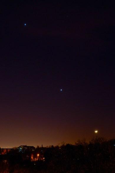 Mjesec, Venera i Jupiter, 24.2.2012.