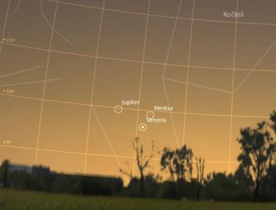 Konjunkcija planeta 25. svibnja, pogled prema zapadu.