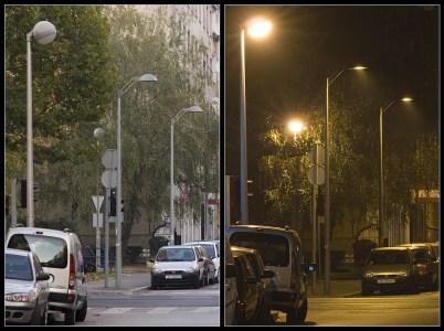 Ekološka i neekološka rasvjeta u Grahorovoj ulici u Zagrebu.