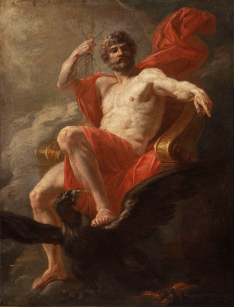 Jupiter Signs: Painting of Jupiter in red, sitting on the throne.