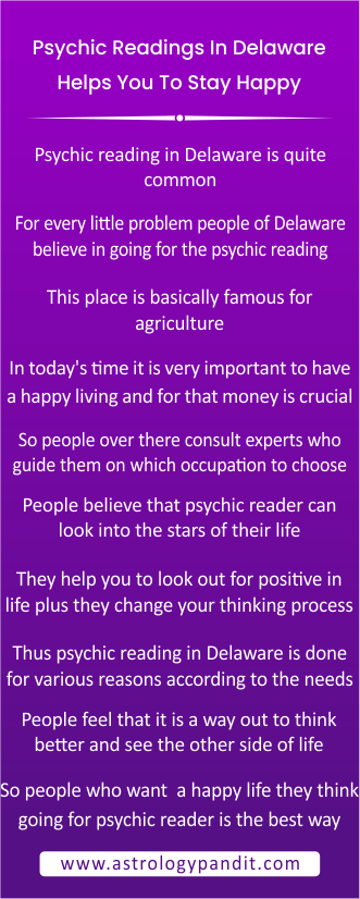 Psychic readings in Delaware help you to stay happy info graphic