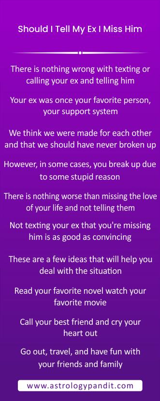 Should I tell my ex I miss him? info graphic