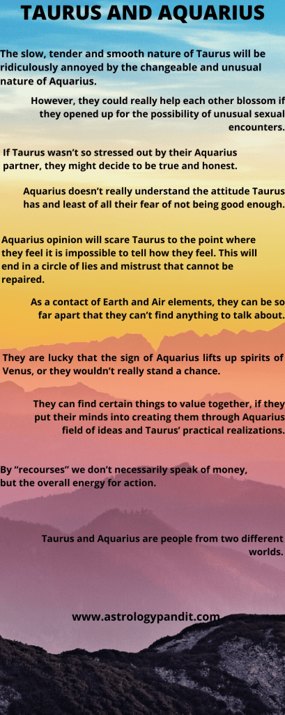Taurus man Aquarius woman compatibility in love online