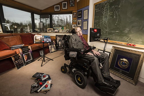 Stephen Hawking at home