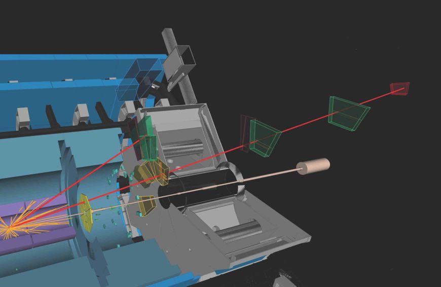 Simulation einer Teilchenkollision, die vom Prototyp-Detektor am ATLAS-Experiment aufgezeichnet wird. Bild: ATLAS Collaboration