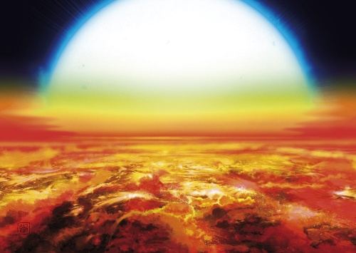 Senja di eksoplanet Jupiter ultrapanas KELT-9b. Kredit: Denis Bajram