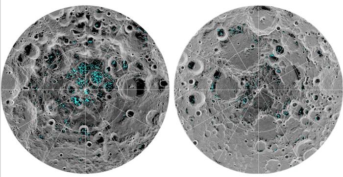 Distribusi air di permukaan Bulan ditemukan pada kutub selatan (kiri) dan kutub utara (kanan) Bulan. Kredit: NASA