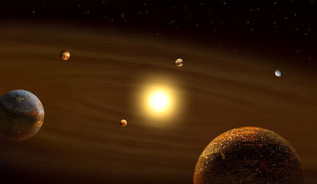 Sistem multi planet yang didominasi planet batuan. Kredit: Michael S. Helfenbein
