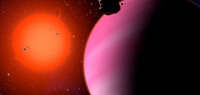 Ilustrasi HAT-P-11b dan bintang induknya. Kredit: Harvard Center for Astrophysics / D. Aguilar