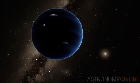 """Representación artística del """"Planeta Nueve"""" recientemente propuesto, que describiría su órbita en los confines del sistema solar, donde el Sol (visible a la derecha) brilla tenuemente. Los astrónomos sospechan que se trataría de un planeta gaseoso, parecido a Urano y Neptuno. En la visión del artista, hipotéticos relámpagos iluminan algunas zonas del hemisferio nocturno del planeta. Créditos de la imagen: Caltech/R. Hurt (IPAC)."""