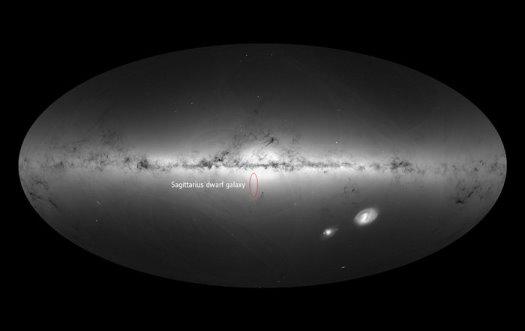 Yay takımyıldızındaki cüce gökada hızla Samanyolu'na yaklaşıyor. Yıldızlardaki bu hareket farklılığının nedeni bu olabilir. (ESA/Gaia/DPAC )
