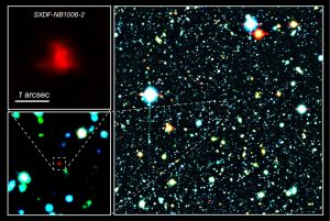 Right panel: The red galaxy at the center of the image is the very distant galaxy, SXDF-NB1006-2. Left panels: Close-ups of the distant galaxy.