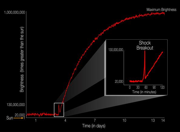 Το διάγραμμα απεικονίζει την λαμπρότητα της έκρηξης ενός σουπερνόβα σε σχέση με την λαμπρότητα του ήλιου μας. Ο εκρηκτικός θάνατος αυτού του άστρου που ονομάζεται KSN 2011d φτάνει στο μέγιστό της σε 14 ημέρες. H πρωταρχική λάμψη φωτός που ονομάζεται «shock breakout» αρχίζει κατά την διάρκεια της τρίτης ημέρας και διαρκεί μόνο 20 λεπτά.