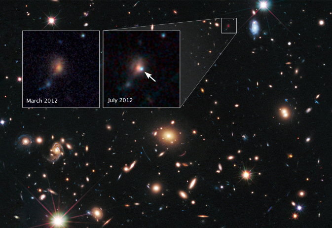 Hubble sees supernova split into four images by cosmic ...