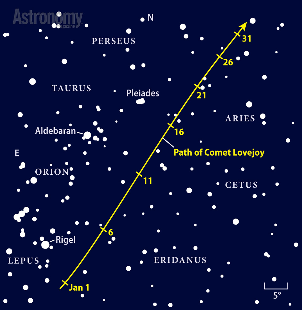 Comet Lovejoy (C/2014 Q2) sprints northward during January, moving from Lepus to the doorstep of Andromeda. (Astronomy.com)