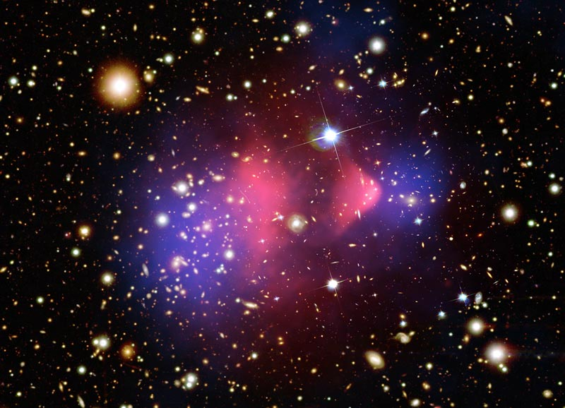 Bullet cluster shows dark matter separating from regular matter