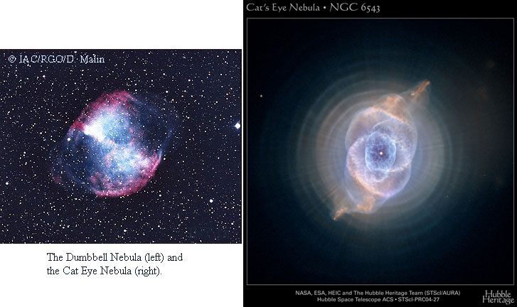 Dumbbell Nebula and Cat's Eye Nebula