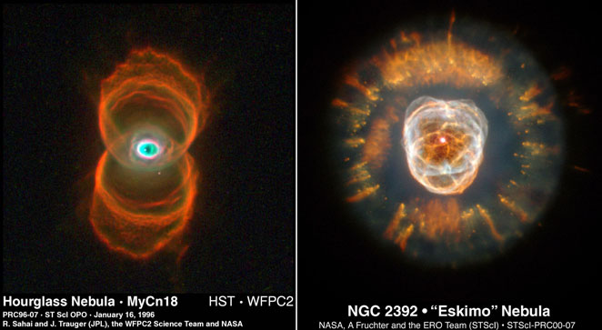 HST view of Hourglass Nebula and Eskimo Nebula