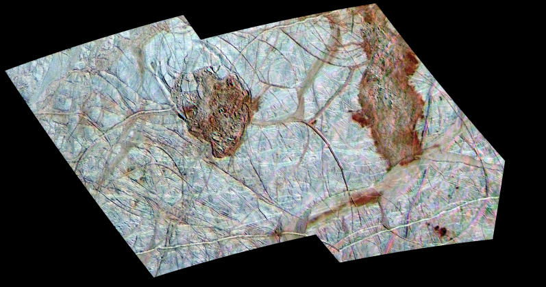 Close-up of Europa's cracked ice surface