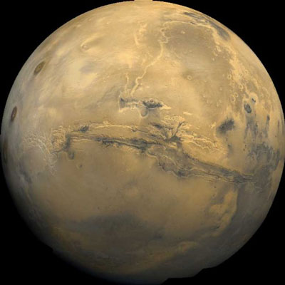 Tharsis part of Mars showing Valles Marineris