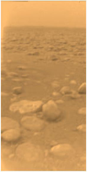 Huygen view of Titan surface in color