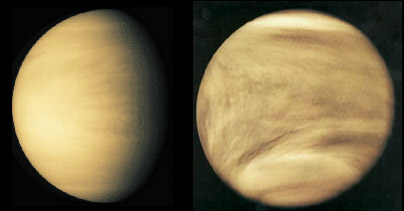 Venus in visible band (left) and UV band (right)
