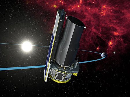 Spitzer Space Telescope in orbit trailing far from the warm Earth